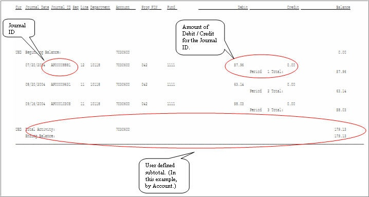 how do i read the general ledger activity report