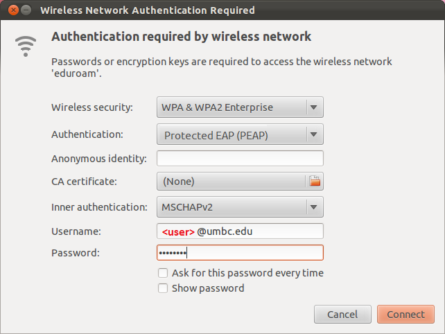 How do I connect to Eduroam using Linux (Ubuntu 11 10)? - Find Help