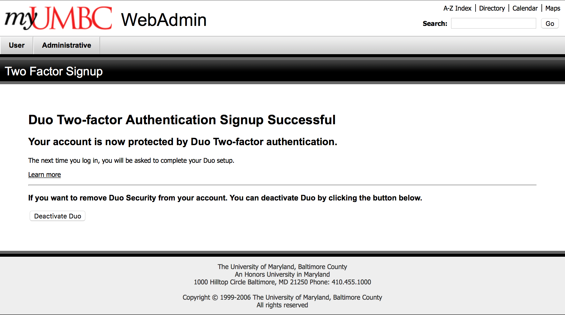 How do I opt in Duo two-factor authentication for my UMBC account