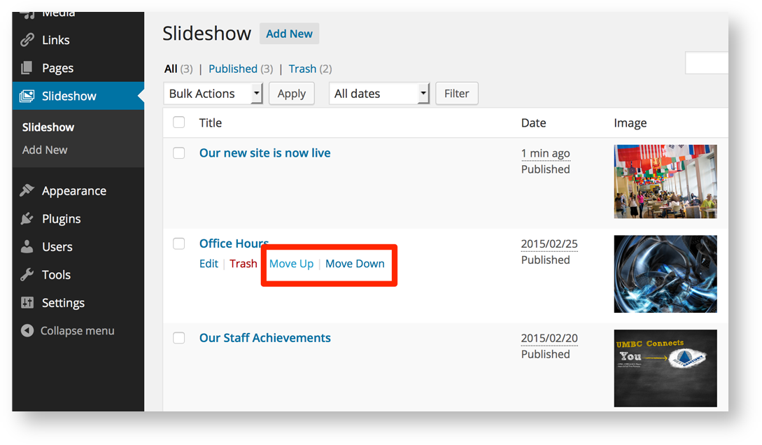 how do i create and manage a slideshow on my site in sites umbc edu