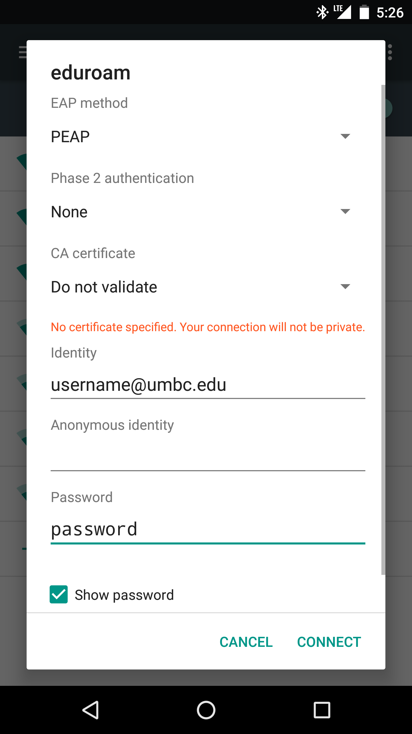 How do I setup my Android device to connect to UMBC eduroam wireless ...