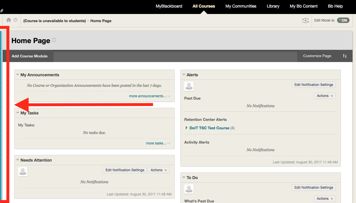 Why can't I see the sidebar for my course in Blackboard