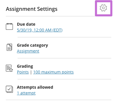 Adjust assignment settings for due date, attempts, and point value.