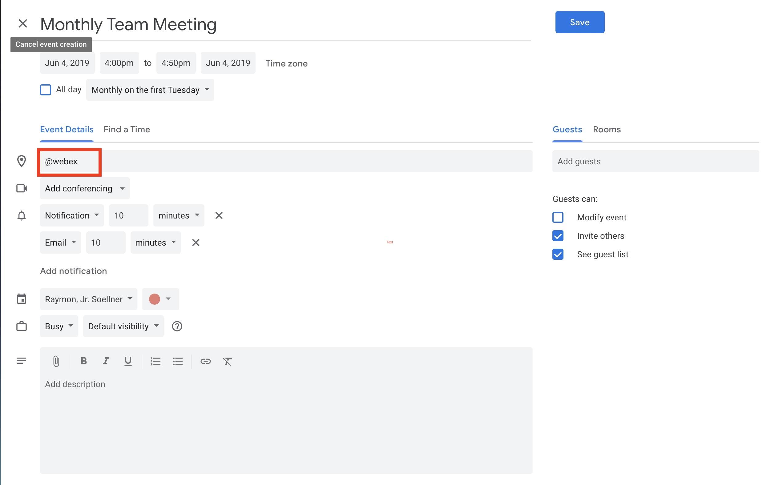 Scheduling a Webex: Google Calendar - Find Help (FAQs) - UMBC